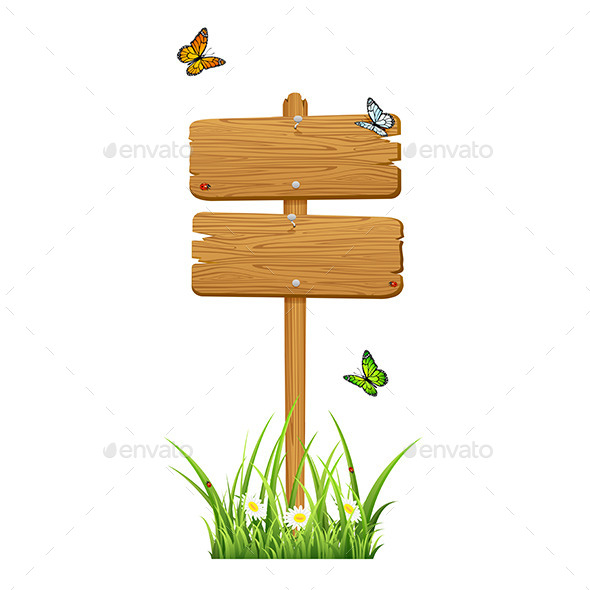 GraphicRiver Double Wooden Sign with Butterflies 11439473