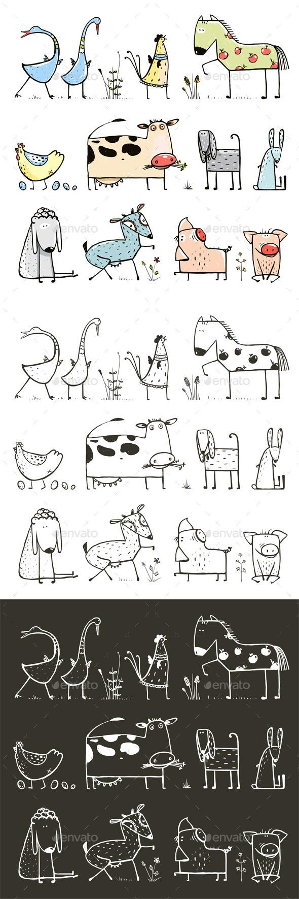 GraphicRiver Cartoon Farm Domestic Animals Collection 11439570