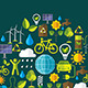 Environment and Ecology Banner with Flat Icons - GraphicRiver Item for Sale