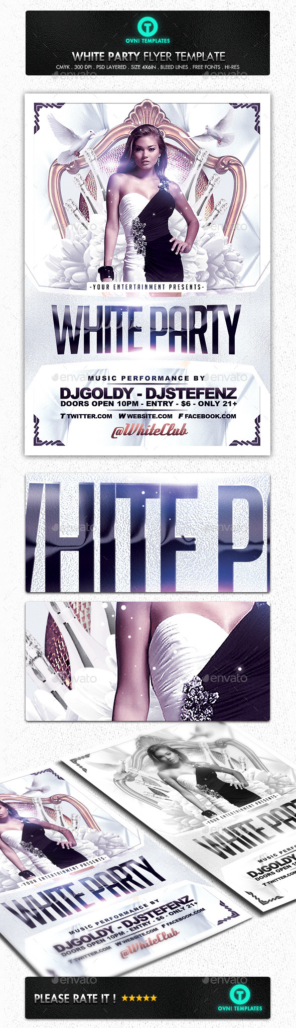 GraphicRiver White Party VIP Flyer Template 11440014