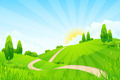 Green Landscape with Trees and Road - PhotoDune Item for Sale
