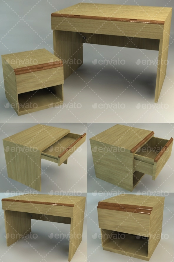 Bedside Table and Desk Set
