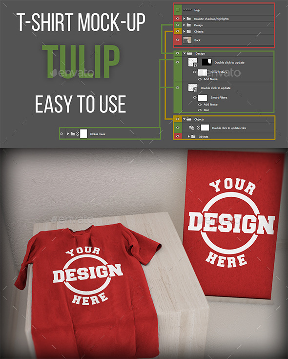 GraphicRiver T-Shirt Mock-Up Tulip 11440728