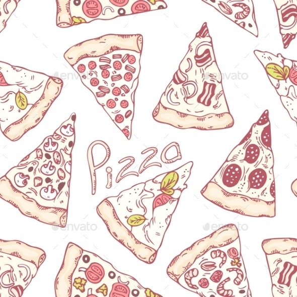 GraphicRiver Hand Drawn Different Pizza Slices Seamless Pattern 11440749