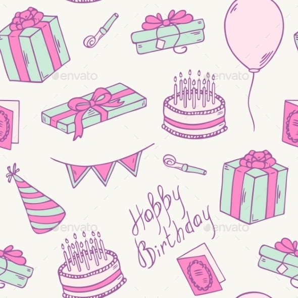 GraphicRiver Doodle Birthday Party Seamless Pattern 11440775