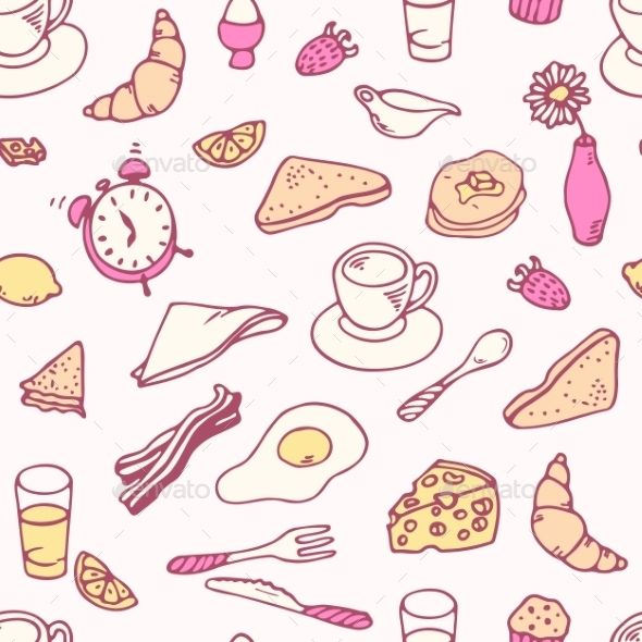 GraphicRiver Doodle Breakfast Seamless Pattern 11440779