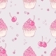 Hand Drawn Cherry Cupcake Seamless Pattern - GraphicRiver Item for Sale