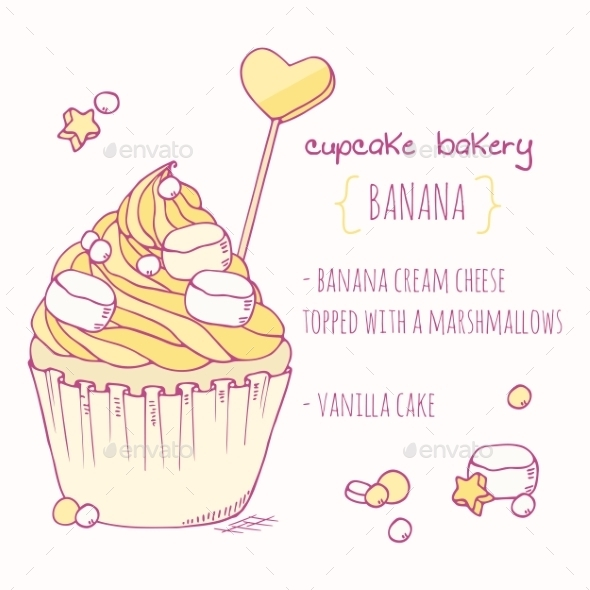 GraphicRiver Hand Drawn Banana Cupcake 11440785