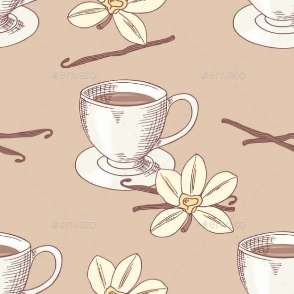 GraphicRiver Sketched Coffee Cup With Vanilla Flower Seamless 11440793