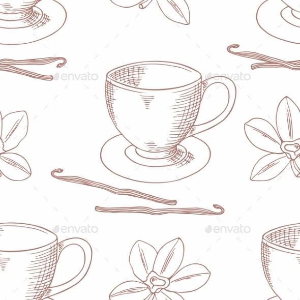 GraphicRiver Sketched Coffee Cup With Vanilla Flower Outline 11440796