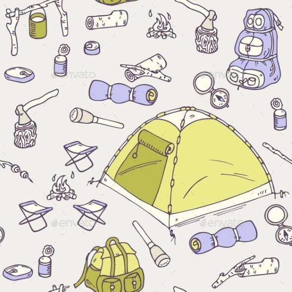 GraphicRiver Hand Drawn Camping Seamless Pattern 11440802