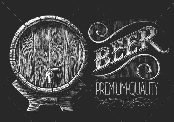GraphicRiver Barrel Of Beer On Chalkboard 11440807
