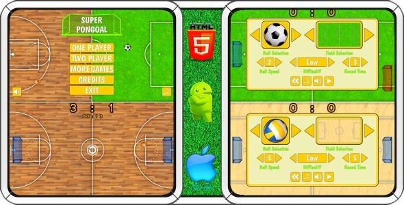 CodeCanyon Super PonGoal HTML5 Mobile game Capx 11440868