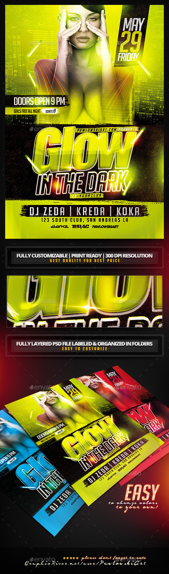 GraphicRiver Glow In The Dark Party Flyer Template 11441015