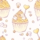 Hand Drawn Banana Cupcake Seamless Pattern - GraphicRiver Item for Sale
