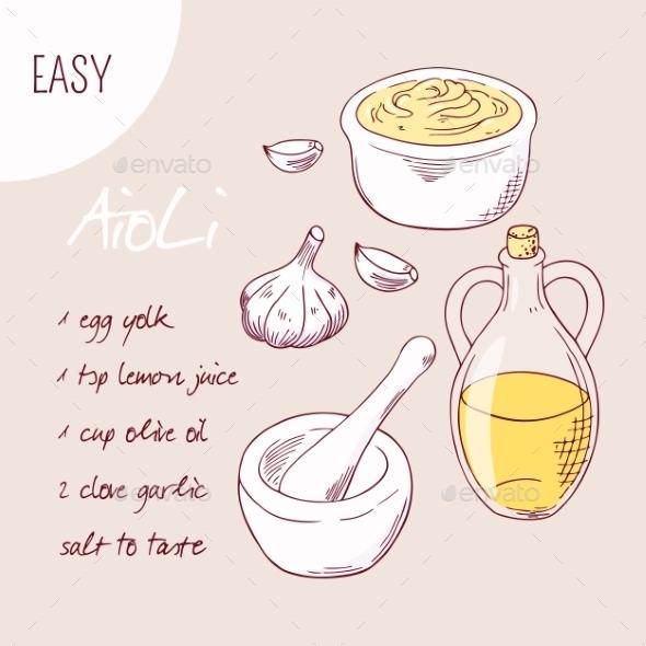 GraphicRiver Aioli Sauce Recipe Illustration In Vector 11441193