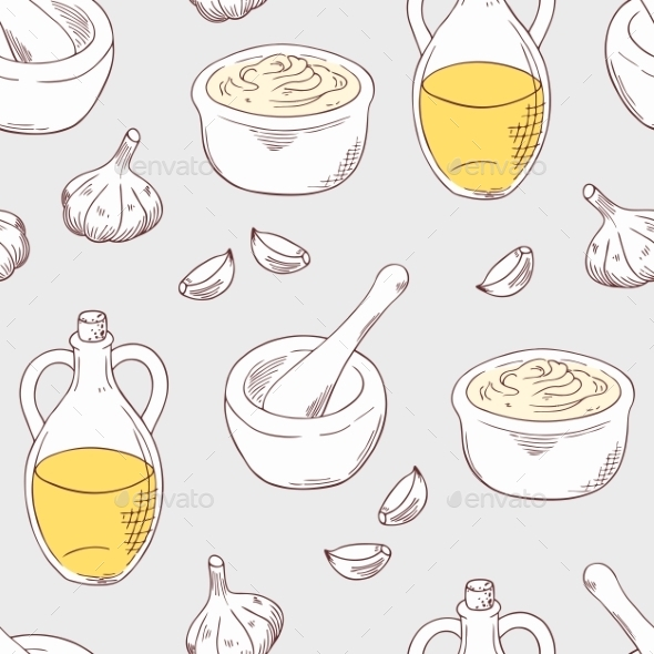 GraphicRiver Hand Drawn Aioli Sauce Seamless Pattern Background 11441194