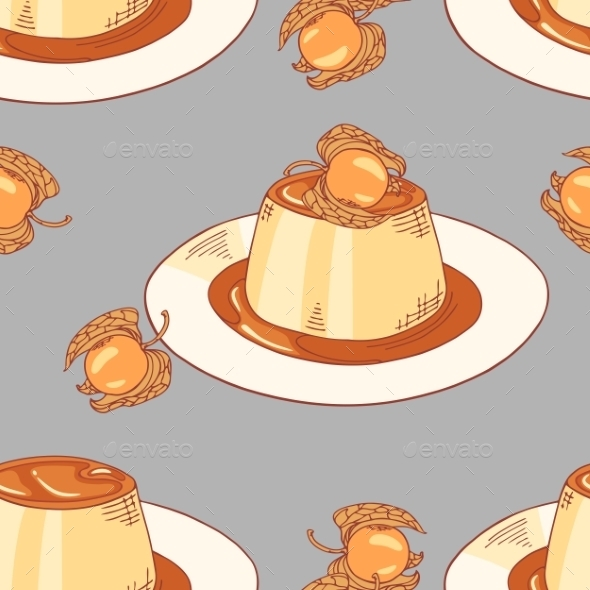 GraphicRiver Creme Caramel Dessert Seamless Pattern In Vector 11441201