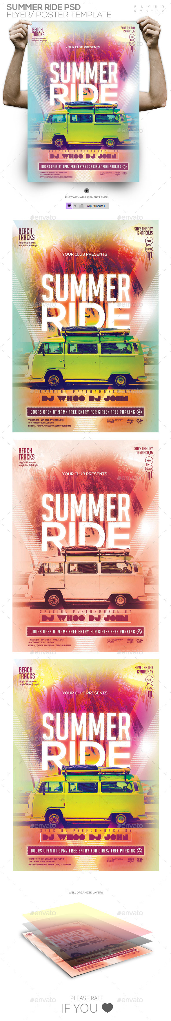 GraphicRiver Summer Ride PSD Flyer Poster Template 11441396
