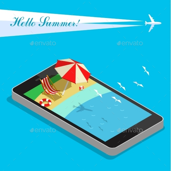 GraphicRiver Vacation With Mobile Phone Concept 11441592