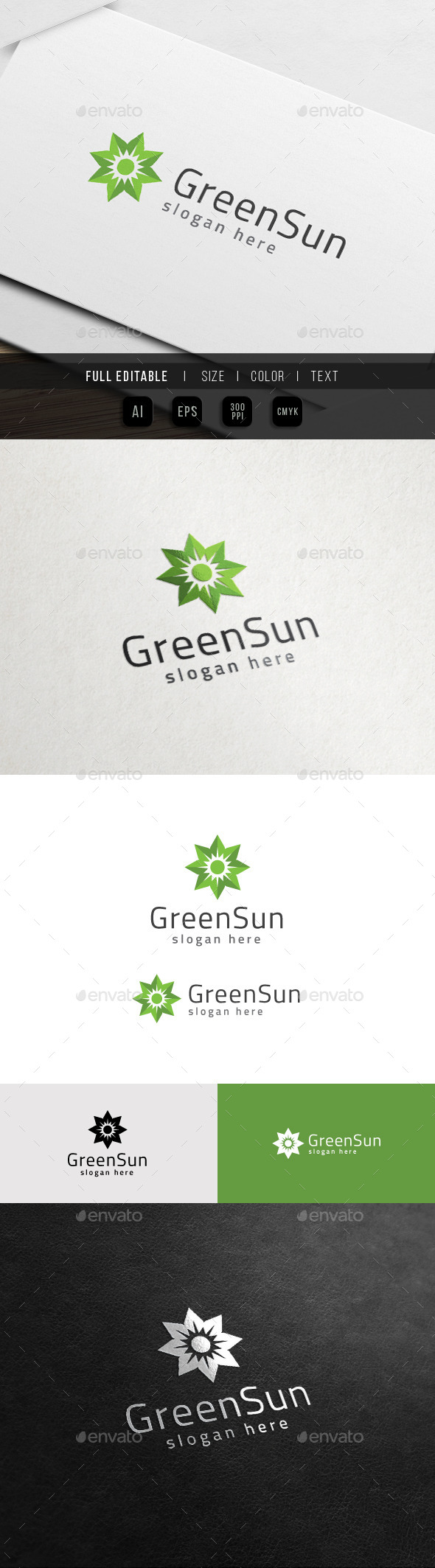 GraphicRiver Green Leaf Sun Eco Energy Logo 11441594