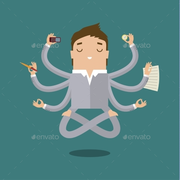 GraphicRiver Businessman With Multitasking 11441598