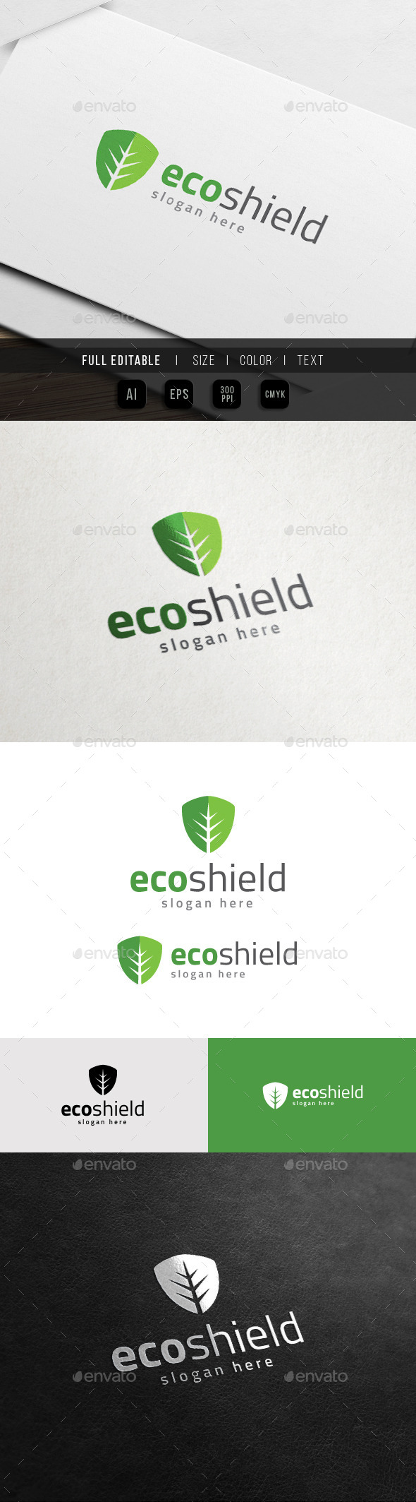 GraphicRiver Green Shield Eco Property Logo 11441667