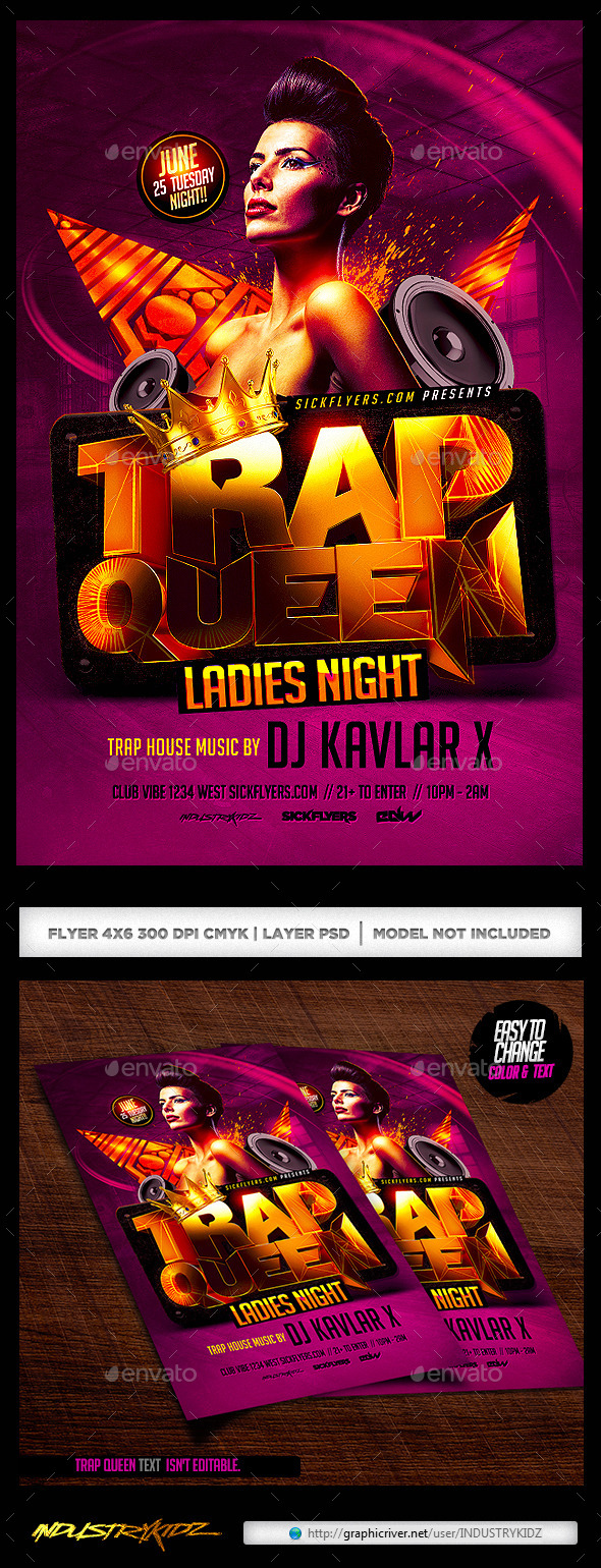 GraphicRiver Trap Queen Ladies Night Flyer 11441685