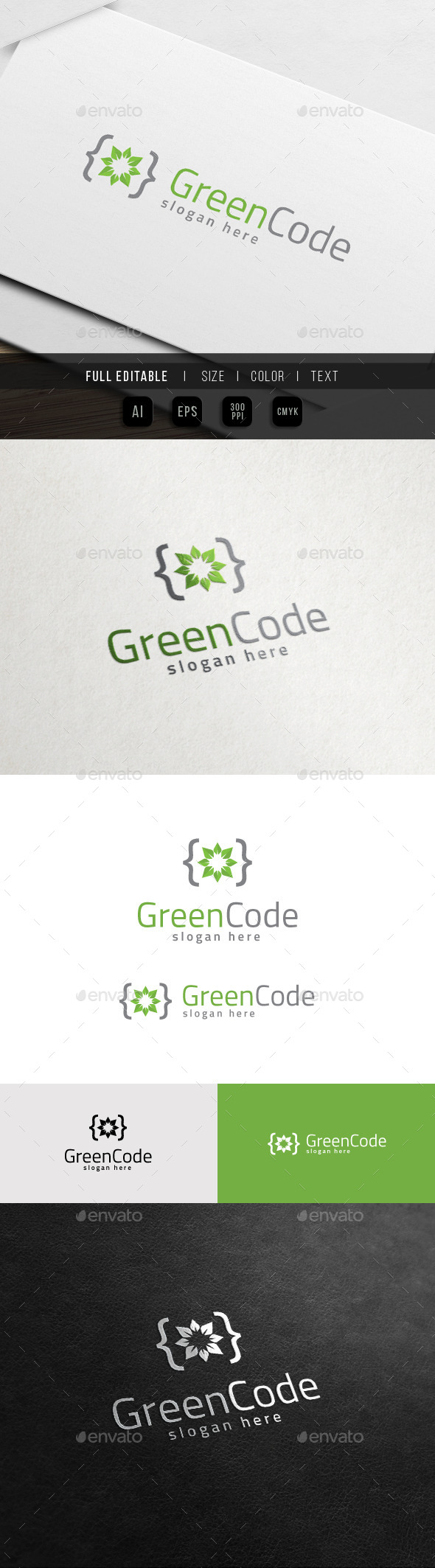 GraphicRiver Green Code Developer Growth Logo 11441773