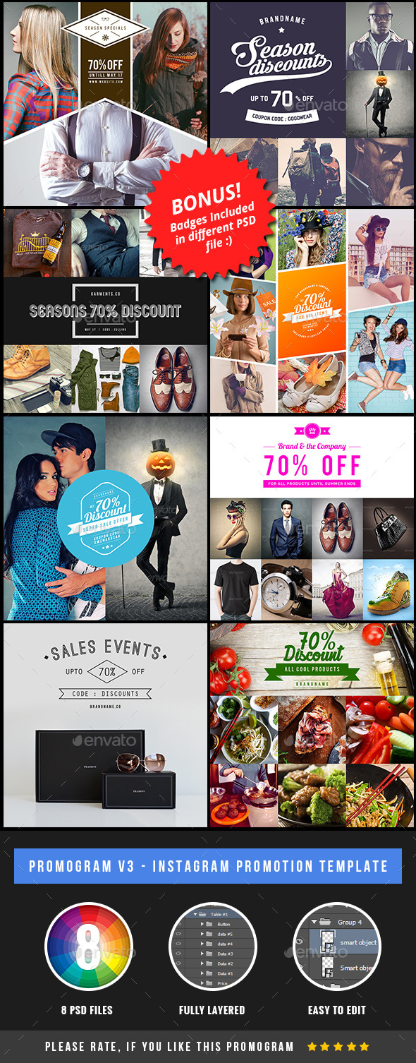 GraphicRiver Promogram 3 Instagram Promotion Template 11441896