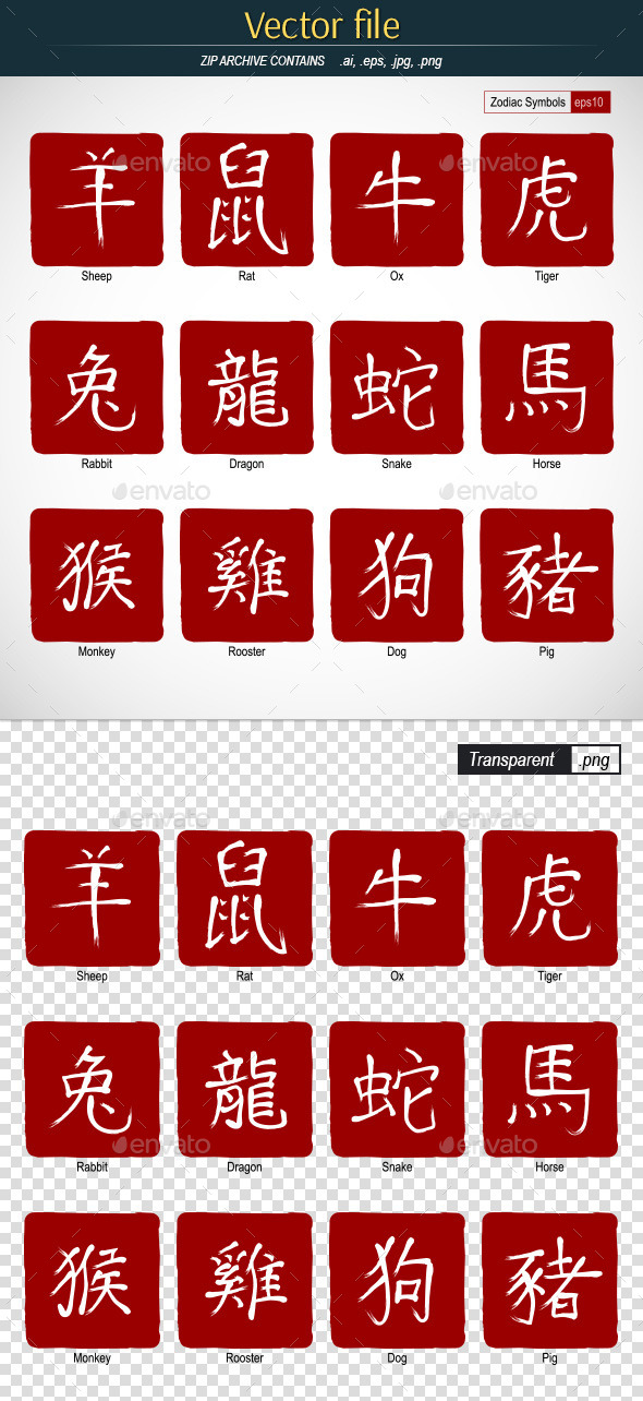 GraphicRiver Symbols Of The Chinese Horoscope 11442201
