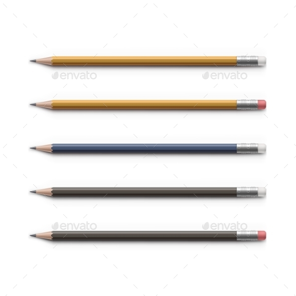 GraphicRiver Set Of Multicolored Pencils With Erasers Isolated 11442365
