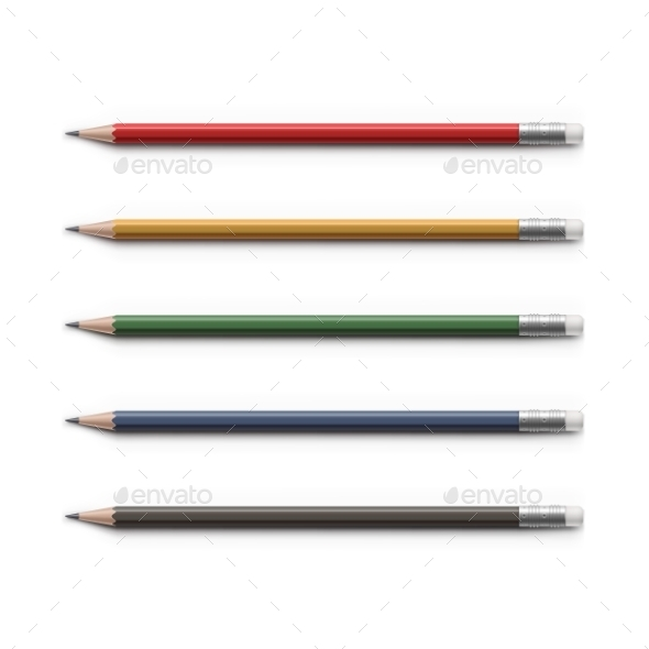 GraphicRiver Set Of Multicolored Pencils With Erasers Isolated 11442381