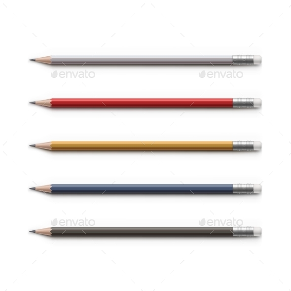 GraphicRiver Set Of Multicolored Pencils With Erasers Isolated 11442387