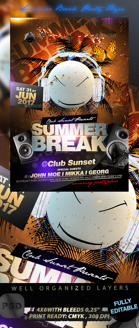 GraphicRiver Summer Break Party Flyer 11442416
