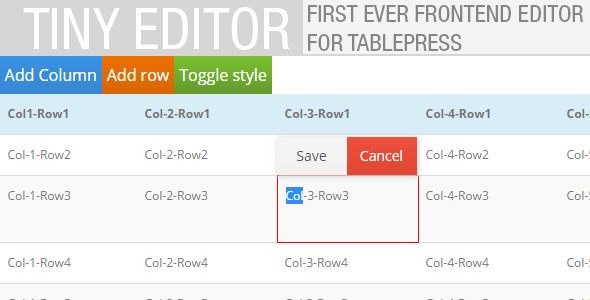 CodeCanyon TinyEditor Frontend editor for TablePress 11442740