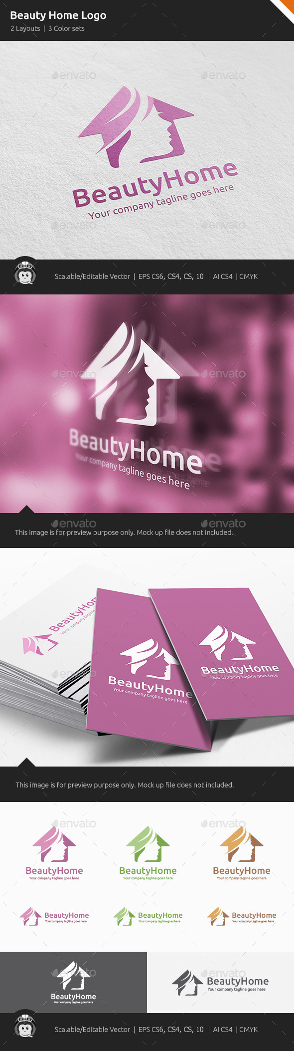GraphicRiver Beauty Home Woman House Logo 11443048