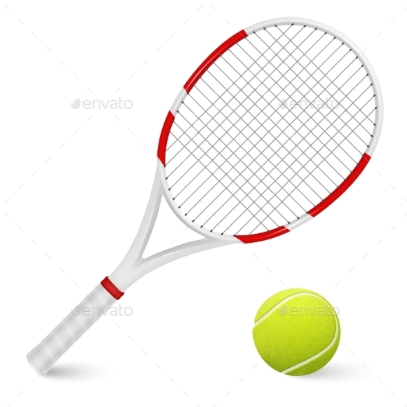 GraphicRiver Tennis Racket And Ball Isolated 11443051