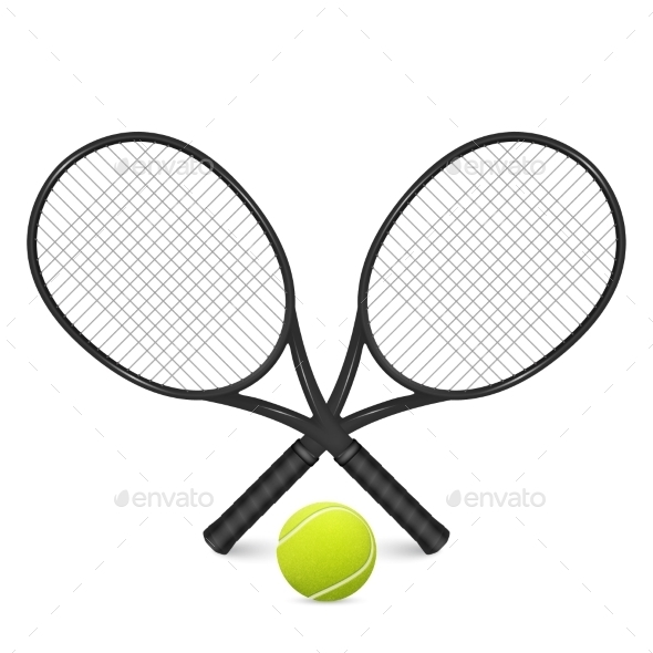 GraphicRiver Tennis Ball And Two Crossed Rackets 11443059