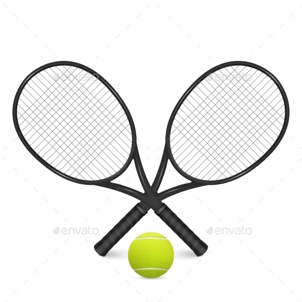 GraphicRiver Tennis Ball And Two Crossed Rackets Isolated On 11443072