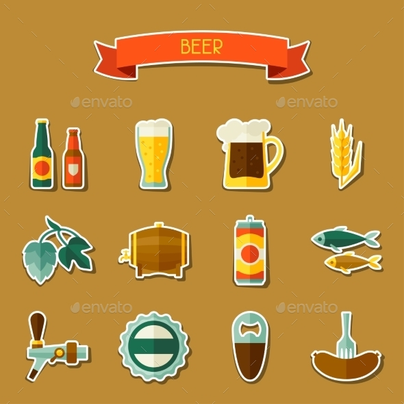 GraphicRiver Beer Sticker Icon And Objects Set For Design 11443119