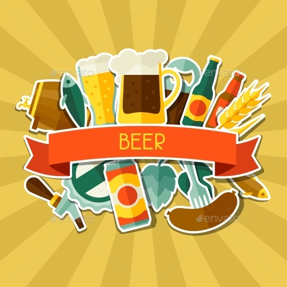 GraphicRiver Background Design With Beer Sticker Icons 11443122