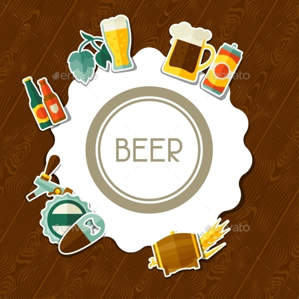 GraphicRiver Background Design With Beer Sticker Icons 11443128