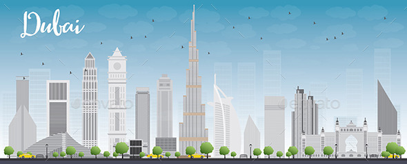 GraphicRiver Dubai City Skyline with Grey Skyscrapers and Blue 11443275