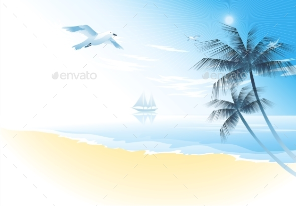 GraphicRiver Summer Beach With Palm Trees 11443383