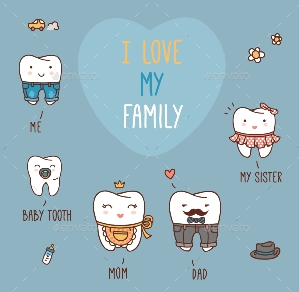 GraphicRiver Happy Family Teeth Set 11443583