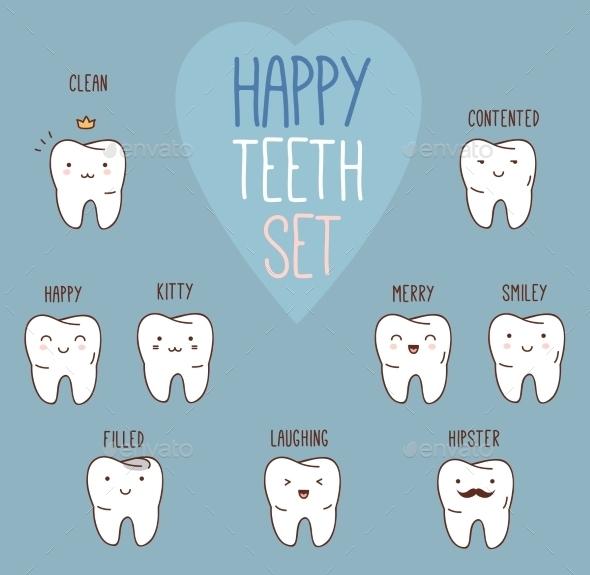 GraphicRiver Happy Teeth Set 11443592