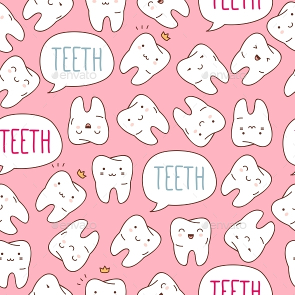 GraphicRiver Seamless Colorful Teeth Pattern 11443597