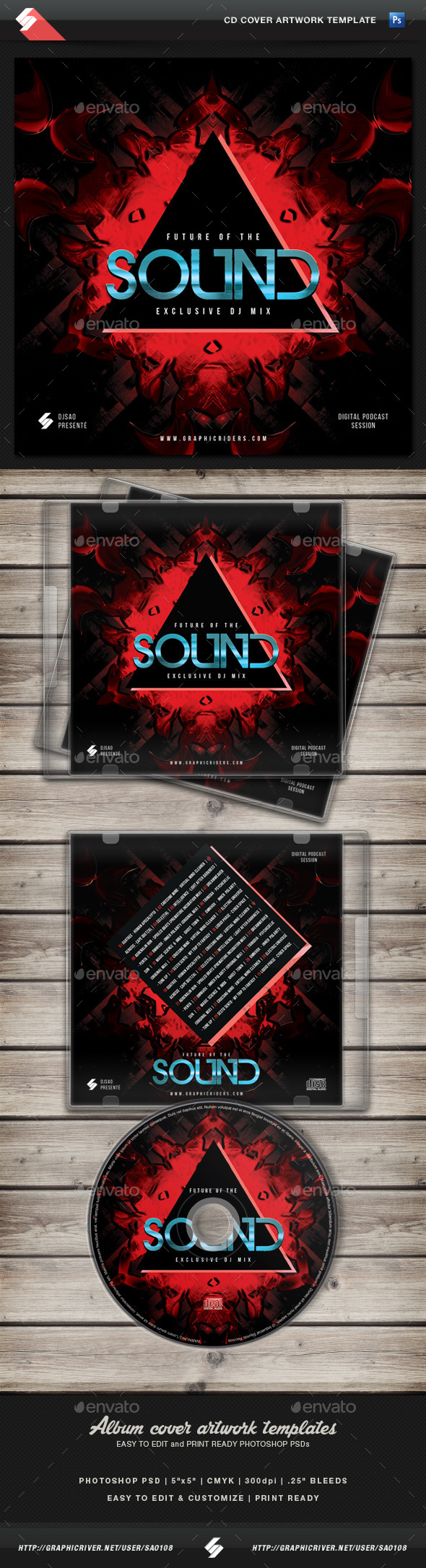 GraphicRiver Future Of The Sound CD Cover Artwork Template 11443617