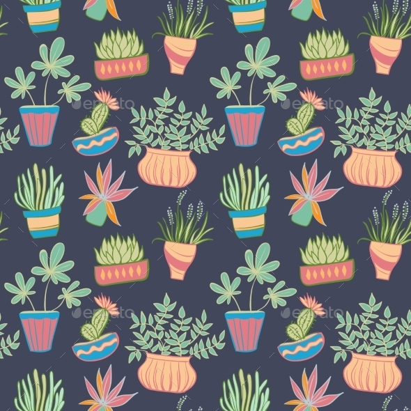 GraphicRiver Potted Plants Seamless Pattern 11444026